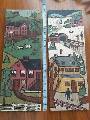 PRIMITIVE FOLK ART FALL Upcycled RECLAIMED WOOD Hand Painted Pair