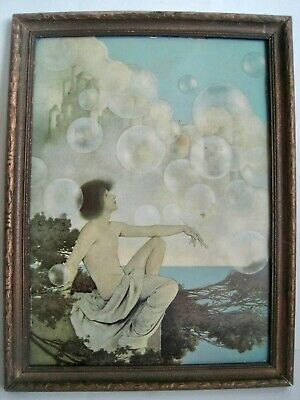 vintage art early 1900s Angel on Cliff in Snow watching the Snow