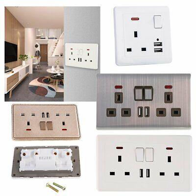 Double Wall Plug Socket 2 Gang 13A w/ 2 Charger USB Ports Outlets Flat Plate