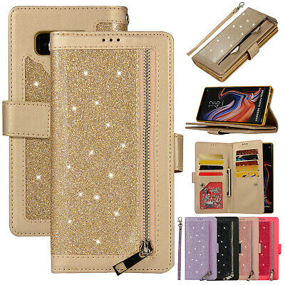 For Samsung Galaxy Note 10 Plus Case Bling Zipper Magnetic Leather Wallet Cover