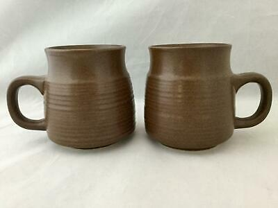 "Set of 2 Denby MAYFLOWER Solid Brown Bands 3 3/4"" Coffee Mug / Tea Cup FREE SHIP"