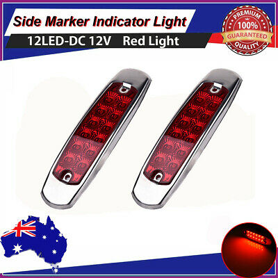 2X 12V Red 12 LED Side Marker Lamp Tail Lights Clearance,Boat Trailer Truck AU