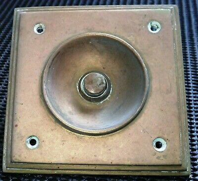 OLD BRASS DOOR BELL and SQUARE SURROUND Very Good Condition