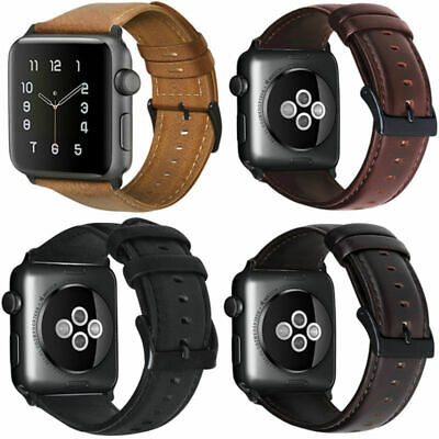 Retro Genuine iWatch Band Leather Men Casual Strap For Apple Watch 5 4 3 2 1
