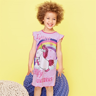 Kids Girls Pink Unicorn Minions Character Pyjama Nightdress Nightie Age 3-4