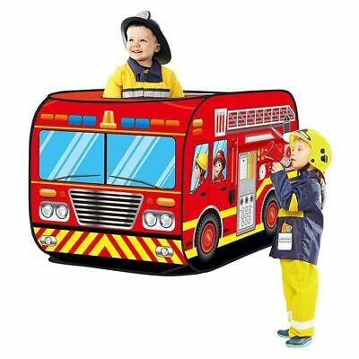 Children's Play Tent,Kids Gamehouse Toy Hut Easy Playhouse, Cute Fire Engine Car