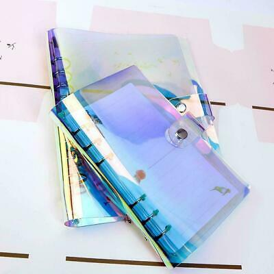 A5/A6/A7 Rainbow PVC Cover Metal Ring Binder Document Folder Button Planner L9X0