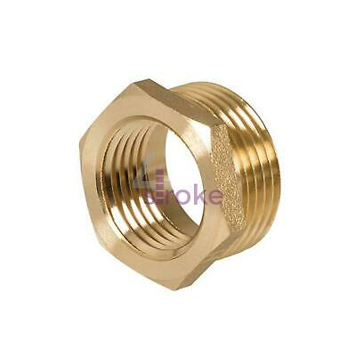 "Brass Reducing Hexagon Bush 3/4"" Male to 1 /2"" Female Adaptor Connector"