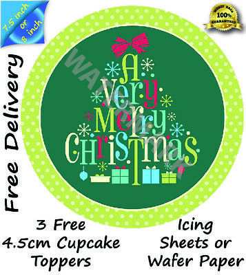 Edible Christmas Cake Topper Cupcake with Optional Box /& 12 mm Board//drum