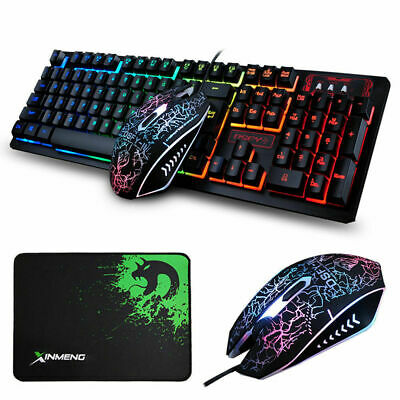 Rainbow Backlit Gaming Keyboard and Mouse Combo + Mouse pad Wired for Gaming AU