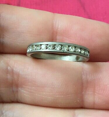 Vintage Antique Silver Clear Stone Crystal Wedding Band Ring Size 7 Estate Find