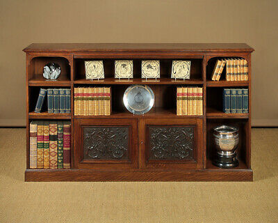 Antique 19th.c. Oak Open Bookshelves & Side Cabinet c.1890