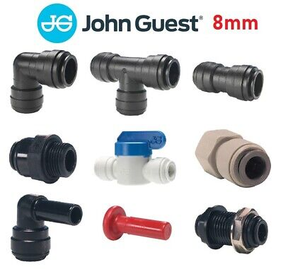 John Guest 8mm Push Fit Fittings Drinks Dispense, Pneumatic, Tube, Pipe, Water