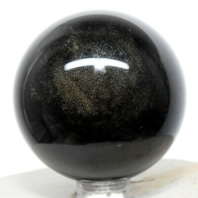 """2"""" Gold Sheen Obsidian Sphere Natural Sparkling Crystal Polished Ball - Mexico"""