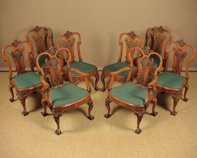 Antique Set Eight Large George II Style Walnut Dining Chairs.