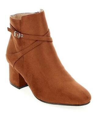 Womens Brown Tan Wide Fit E Ankle Boots Smart Work Zip-Up Comfy Shoes Sizes 4-9