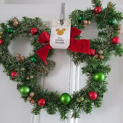 New 2019 Disney Primark Mickey Mouse Large Door Wreath W/ Baubles  Ready To Post
