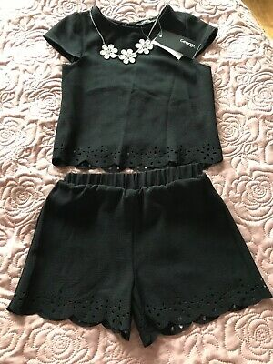 girls short suit age 4 -5 BNWT black George party outfit