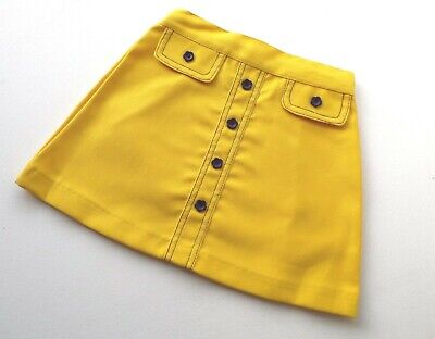Cuckoo Girls Skirt Yellow A-Line Black Daisy Buttons Age 5 1960/70's Vintage