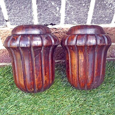 Antique / Vintage Pair Carved Large Wooden Finials