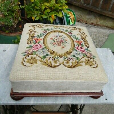 French Antique Foot Stool - Hand Embroidered / Wool Worked