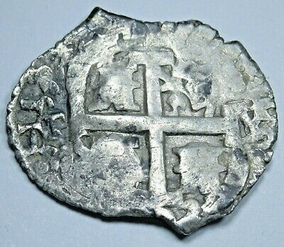 1705 Spanish Potosi Silver 1 Reales Piece of 8 Real Old Pirate Treasure Cob Coin