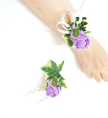 Light purple rose ivy corsage and boutonniere  set for bridesmaid and best man