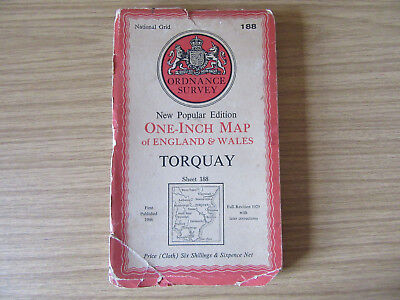 Vintage Ordnance Survey Map - Torquay - sheet 188 in cloth - 1946