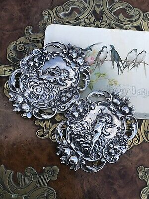 Large Antique Victorian 1887 Sterling Silver Cherub /Putti /Angel Buckle
