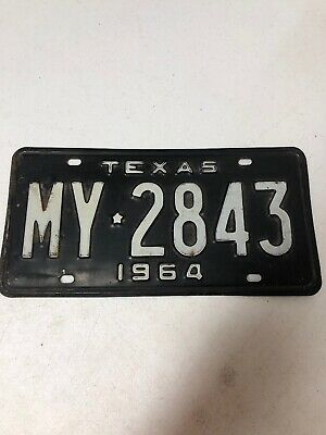 1964 Texas License Plate MY-2843