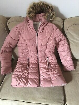 Girls NEXT Dusky Pink Faux Sheep Fur Lining Winter Hooded Coat Size 12