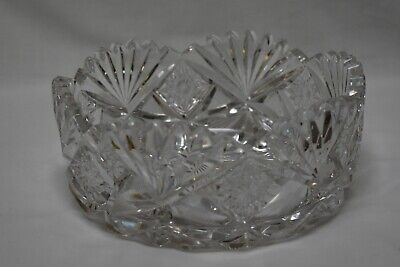 "Antique/Vintage American Brilliant Cut Glass 8"" round - thick and heavy"