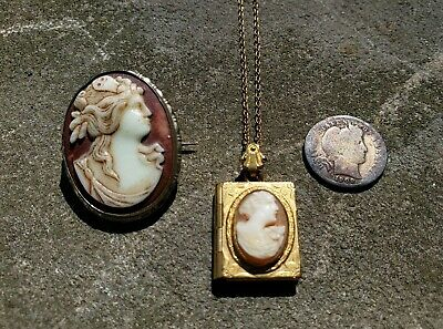 Antique Vintage Costume Jewelry Cameo Pin Brooch Locket Victorian Deco Nouveau