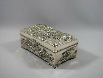 JAPANESE SILVER PLATED CHRYSANTHEMUM JEWEL BOX - LATE 19th / EARLY 20th CENTURY
