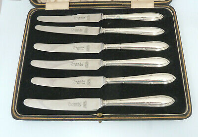 Boxed Set 6 Solid Silver Sil Handled Tea Knives. Sheffield 1937/8. Harrison Bros