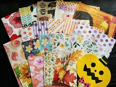 Lot of 21 Paper Napkins Origami for Decoupage & Art Flowers Pig Cactus Halloween