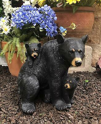 """Large Mother Black Bear with 2 Cubs Family Statue 12.25"""" Long Garden Decorative"""