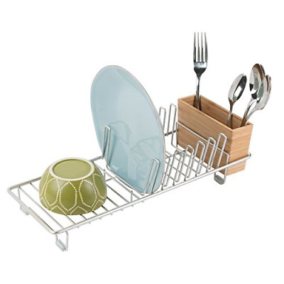 mDesign Compact Modern Kitchen Countertop, Sink Dish Drying Rack, Removable Tray