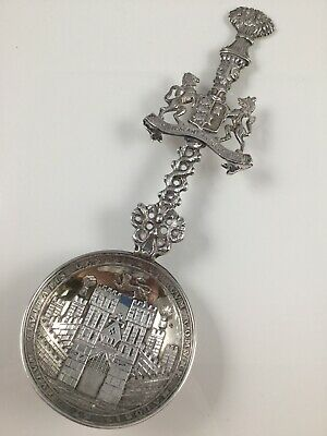 Large Hallmark Silver Comemorative Souvenir Caddy Spoon Chester 1890 Lowe & Sons