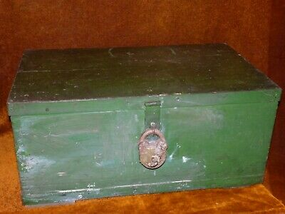 A Large Victorian Antique Folk Art Green Painted Strong Box, Padlock & Key