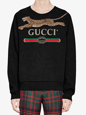 1450$ BNWT Gucci Logo Men's Sweatshirt Jumper With Leopard % 100 Cotton