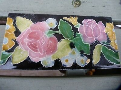 Rare antique border tile for sale stunning colours Villeroy and Boch Mettlach