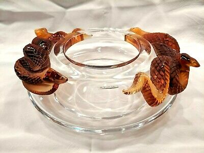 Lalique Crystal Bamako Serpents Coupe Bowl