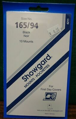 Showgard size 165/94 black hingeless stamp mount NEW unopened pack 1st quality