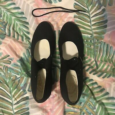 Black Canvas Tap Shoes Cuban Heel Size 6 (Adult)