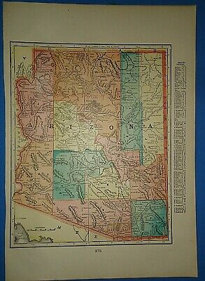 Vintage Circa 1904 ARIZONA TERRITORY MAP Antique Original & Authentic -Free S&H