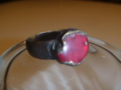 Beautiful Rare Medieval Renaissance Red Stone Ornate Brass Ring  7.75