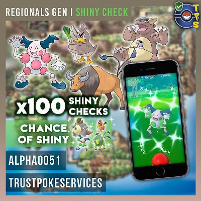 Pokemon Go Regional SHINY CHECK x100 Tauros Kangaskhan Mr. Mime Farfetchd