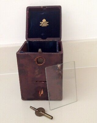 Antique French Carriage Clock Leather Case Le Roy Et Fils London With Key/Glass