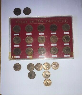 Collection of 25 x George V, VI and ER II Farthing Coin Dates 1910 - 1956